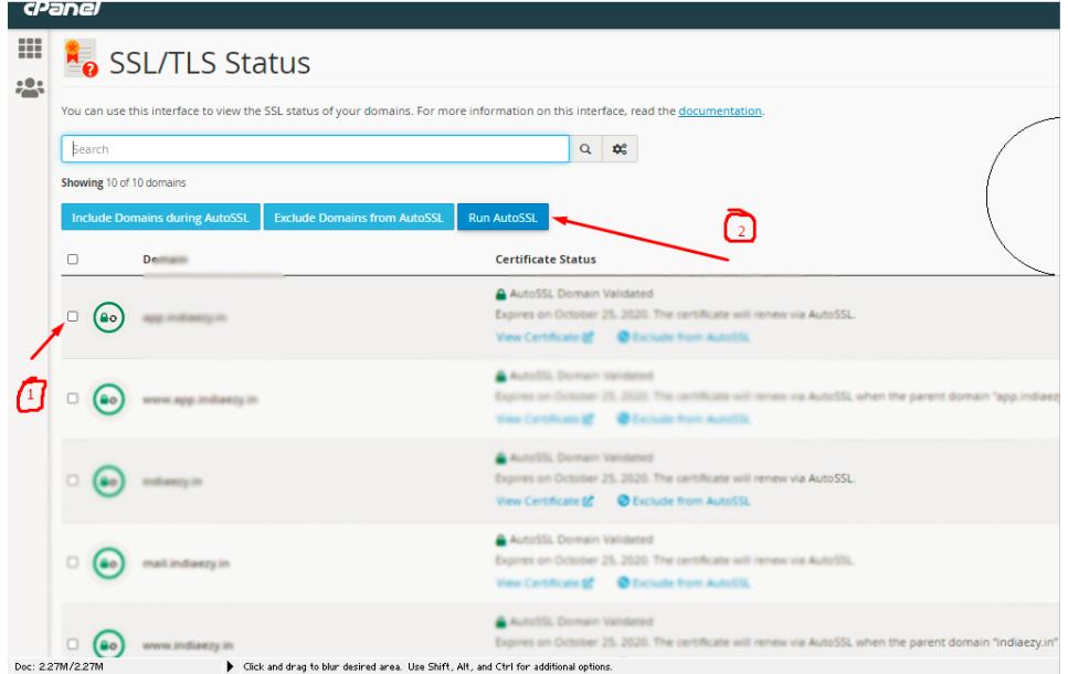 Select domain ans click on run ssl .Information