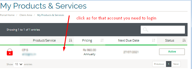 Select Service to login