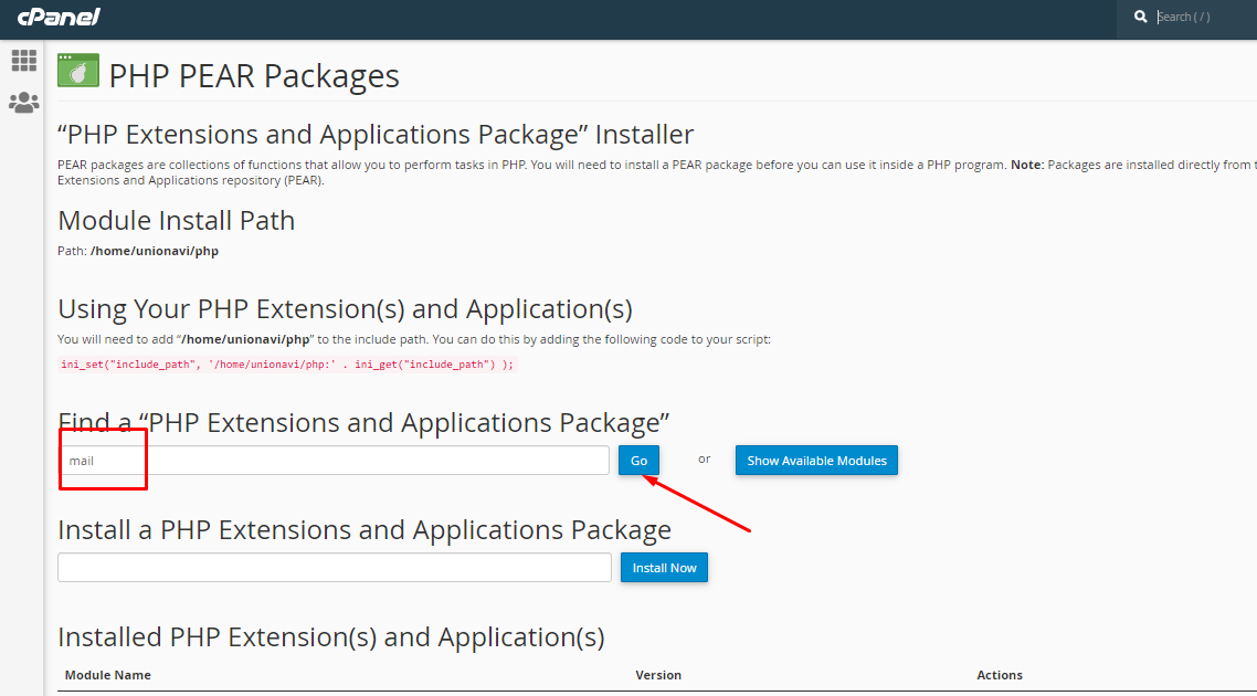 Login to cPanel and install PHP PEAR Packages